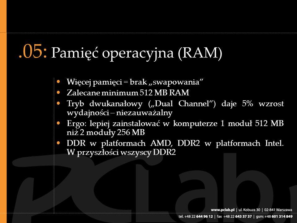 .06: Dysk twardy (HDD) Pojemność uzależniona od zastosowań, w praktyce 80 GB (220 zł dla użytkownika końcowego) wystarczy do komputera biurowego 7200 RPM Bufor 8 MB czy 16 MB daje raczej niewielką przewagę nad buforem 2 MB Może być IDE (PATA), w przyszłości SATA