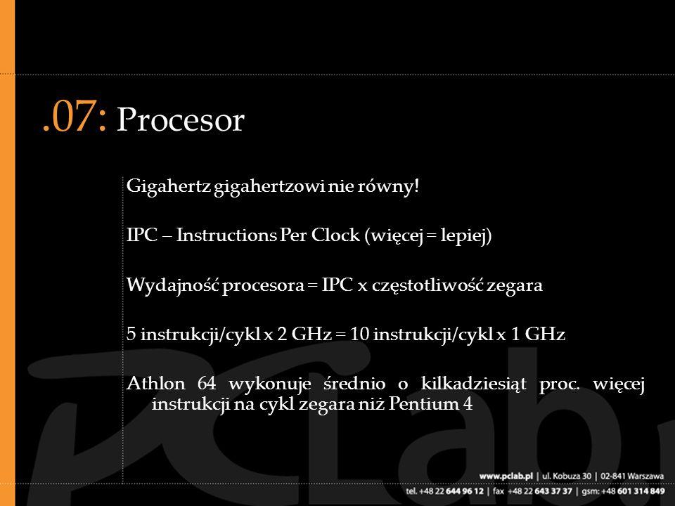 .08: Procesor, c.d. Wydajność procesorów przy zegarze X (np. 2 GHz)