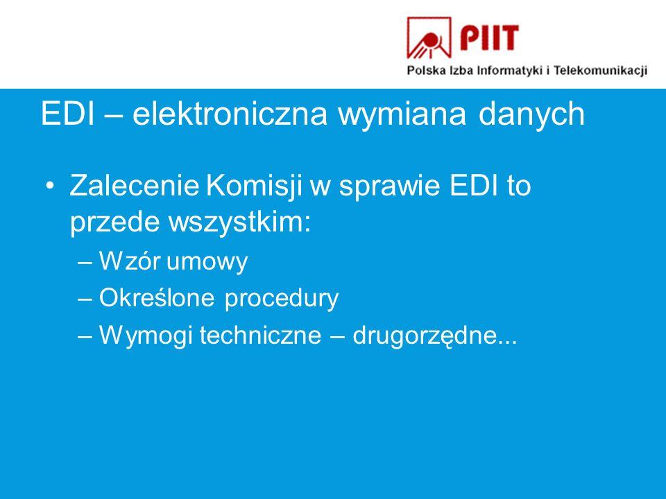 EDI – elektroniczna wymiana danych Zalecenie Komisji w sprawie EDI to przede wszystkim: –Wzór umowy –Określone procedury –Wymogi techniczne – drugorzędne...