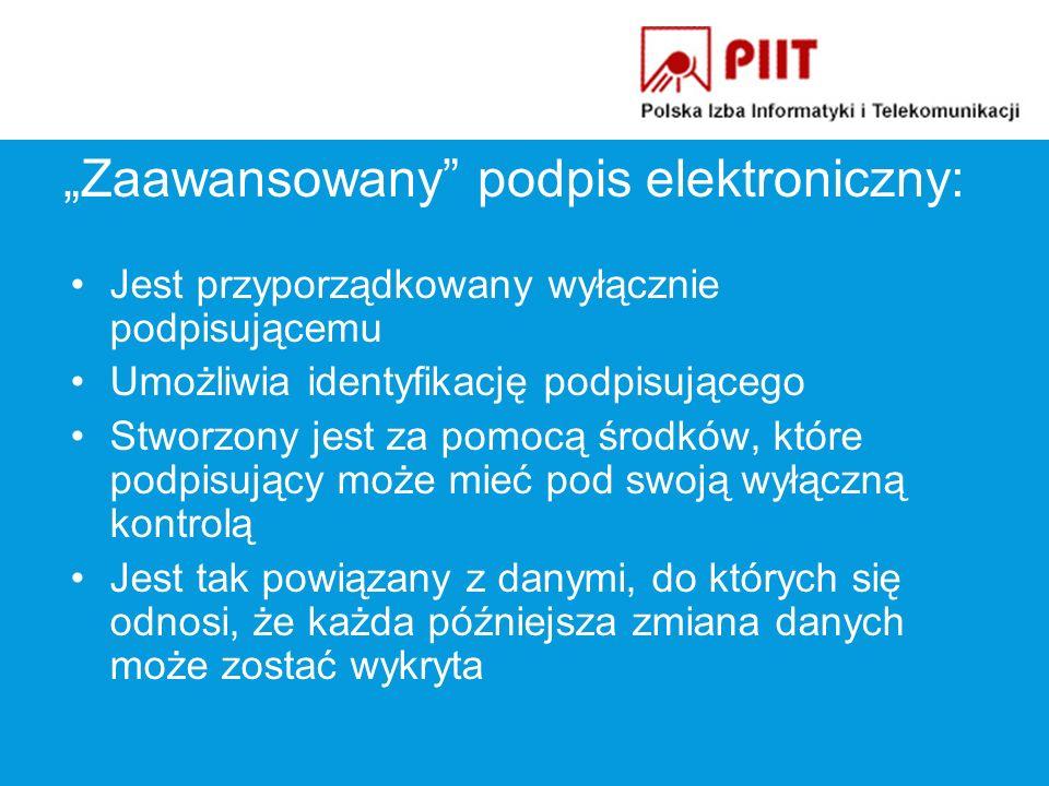 Zaawansowany podpis elektroniczny: Państwa Członkowskie mogą (ale nie muszą!) wymagać: –Certyfikatu kwalifikowanego –Zastosowania bezpiecznego urządzenia do składania podpisu elektronicznego
