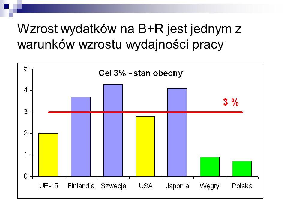 Wzrost wydatków na B+R jest jednym z warunków wzrostu wydajności pracy