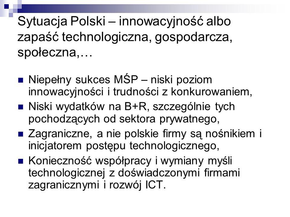 Sytuacja Polski – innowacyjność albo zapaść technologiczna, gospodarcza, społeczna,… Niepełny sukces MŚP – niski poziom innowacyjności i trudności z konkurowaniem, Niski wydatków na B+R, szczególnie tych pochodzących od sektora prywatnego, Zagraniczne, a nie polskie firmy są nośnikiem i inicjatorem postępu technologicznego, Konieczność współpracy i wymiany myśli technologicznej z doświadczonymi firmami zagranicznymi i rozwój ICT.