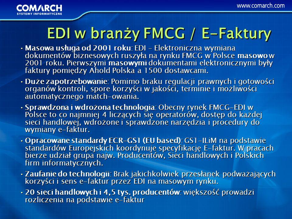 Masowa usługa od 2001 roku: EDI – Elektroniczna wymiana dokumentów biznesowych ruszyła na rynku FMCG w Polsce masowo w 2001 roku. Pierwszymi masowymi