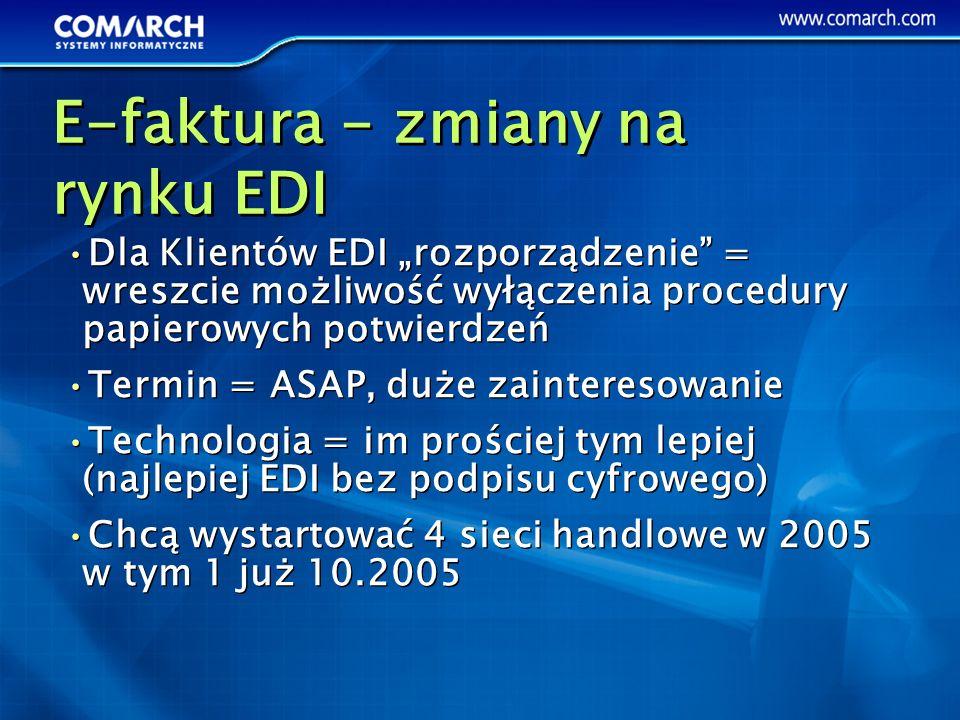 Dla Klientów EDI rozporządzenie = wreszcie możliwość wyłączenia procedury papierowych potwierdzeń Termin = ASAP, duże zainteresowanie Technologia = im