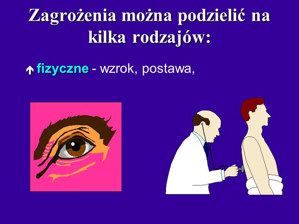 Zagrożenia można podzielić na kilka rodzajów: ¬ fizyczne ¬ fizyczne - wzrok, postawa,  psychiczne  psychiczne - uzależnienie, wirtualna rzeczywistoś