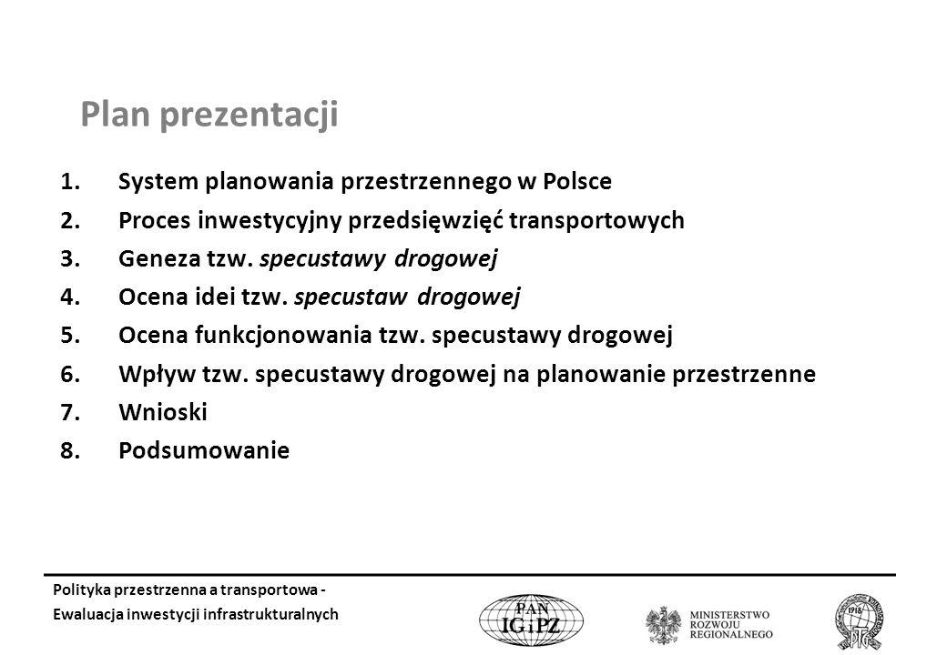 Plan prezentacji 1.System planowania przestrzennego w Polsce 2.Proces inwestycyjny przedsięwzięć transportowych 3.Geneza tzw.