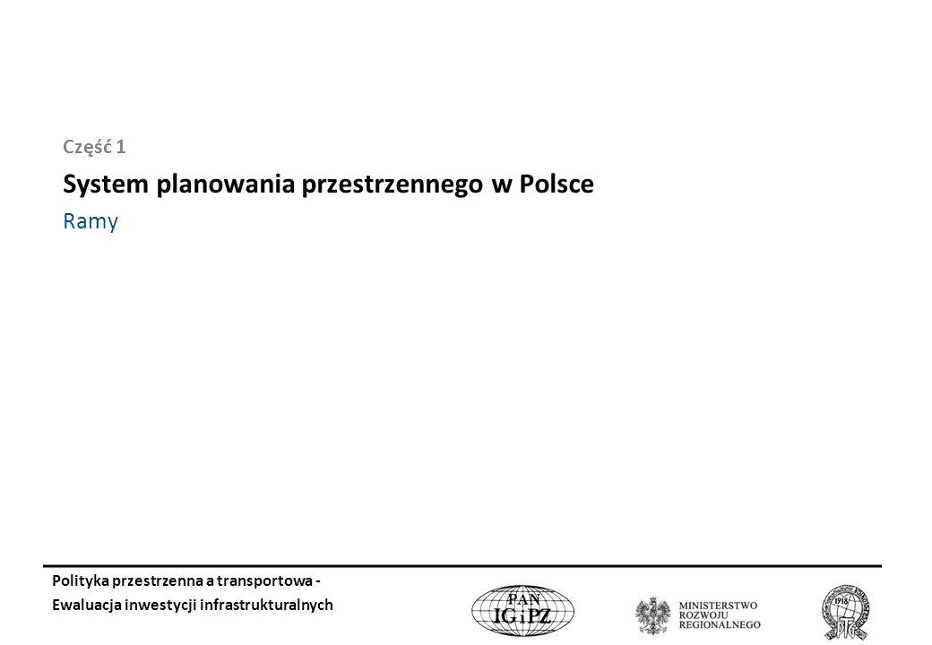 Część 1 System planowania przestrzennego w Polsce Ramy Polityka przestrzenna a transportowa - Ewaluacja inwestycji infrastrukturalnych