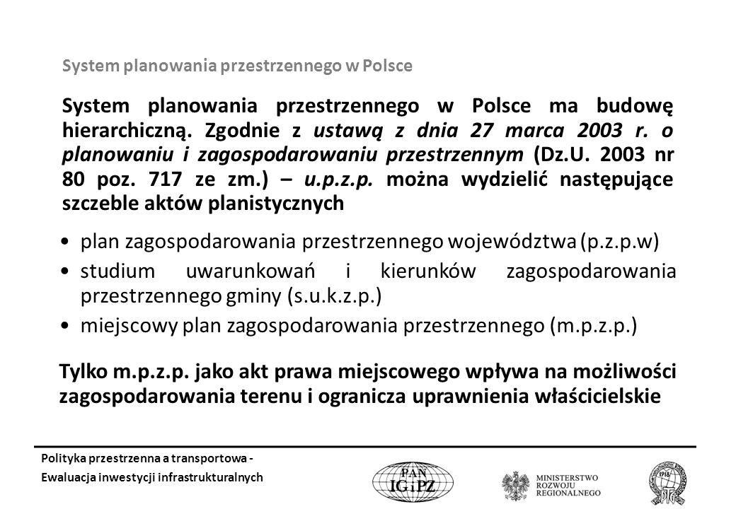 System planowania przestrzennego w Polsce System planowania przestrzennego w Polsce ma budowę hierarchiczną.
