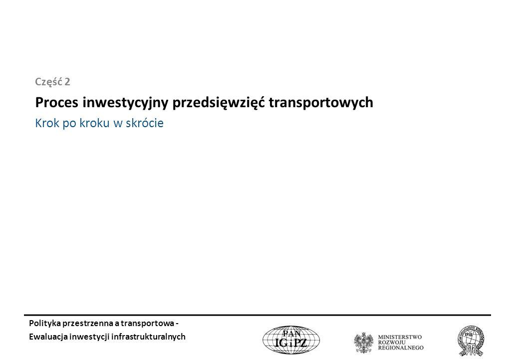 Część 2 Proces inwestycyjny przedsięwzięć transportowych Krok po kroku w skrócie Polityka przestrzenna a transportowa - Ewaluacja inwestycji infrastrukturalnych