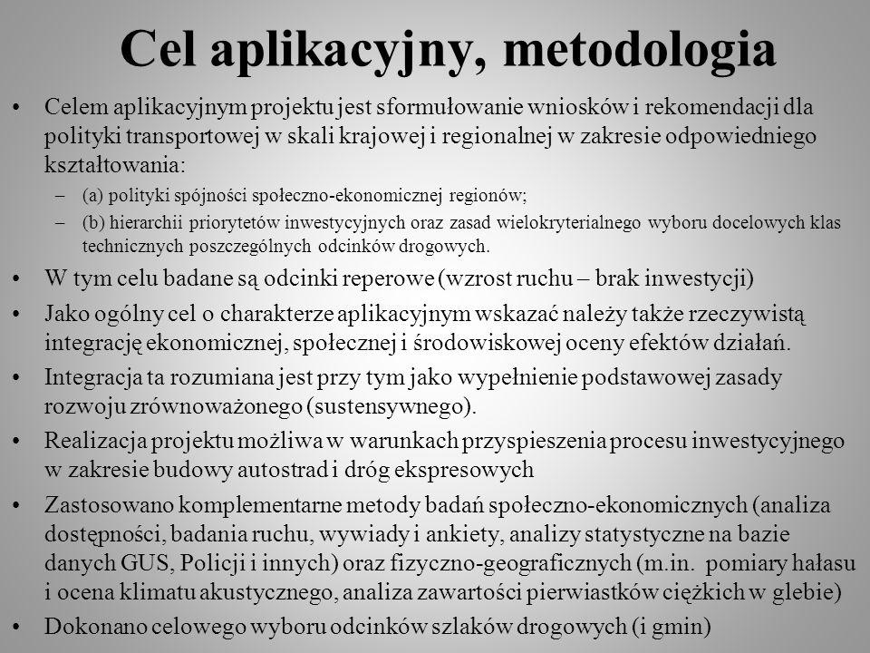 Cel aplikacyjny, metodologia Celem aplikacyjnym projektu jest sformułowanie wniosków i rekomendacji dla polityki transportowej w skali krajowej i regi