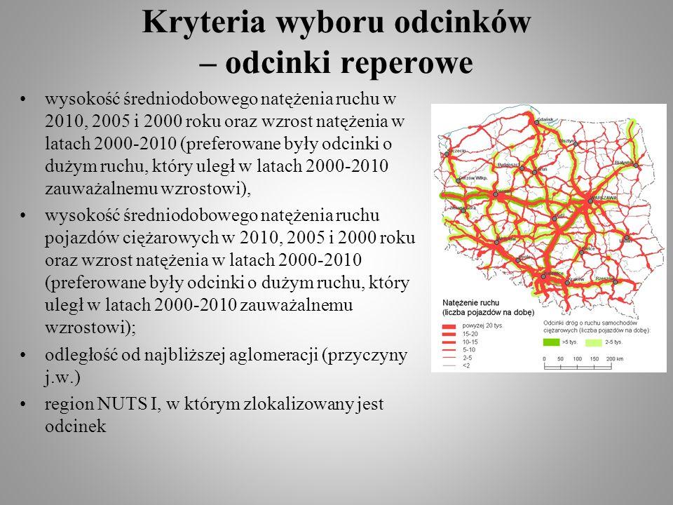 Kryteria wyboru odcinków – odcinki reperowe wysokość średniodobowego natężenia ruchu w 2010, 2005 i 2000 roku oraz wzrost natężenia w latach 2000-2010