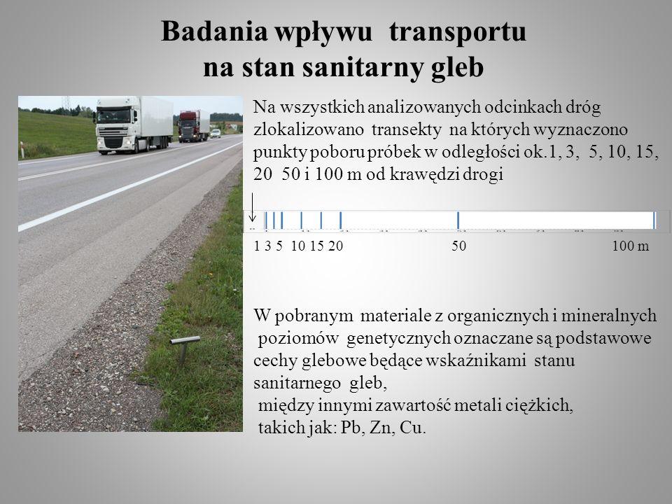 1 3 5 10 15 20 50 100 m Na wszystkich analizowanych odcinkach dróg zlokalizowano transekty na których wyznaczono punkty poboru próbek w odległości ok.