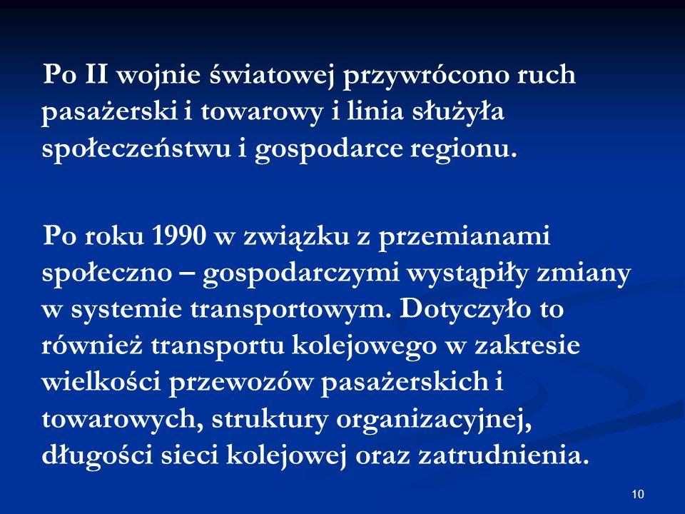 10 Po II wojnie światowej przywrócono ruch pasażerski i towarowy i linia służyła społeczeństwu i gospodarce regionu. Po roku 1990 w związku z przemian