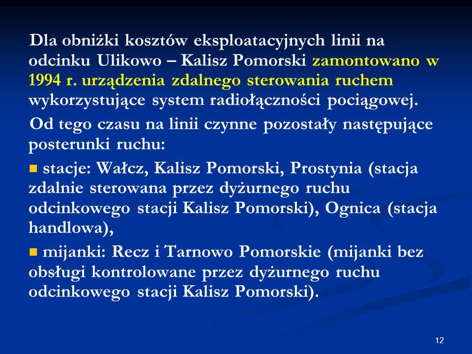 12 Dla obniżki kosztów eksploatacyjnych linii na odcinku Ulikowo – Kalisz Pomorski zamontowano w 1994 r. urządzenia zdalnego sterowania ruchem wykorzy
