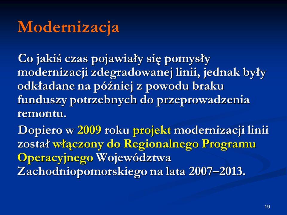19 Modernizacja Co jakiś czas pojawiały się pomysły modernizacji zdegradowanej linii, jednak były odkładane na później z powodu braku funduszy potrzeb