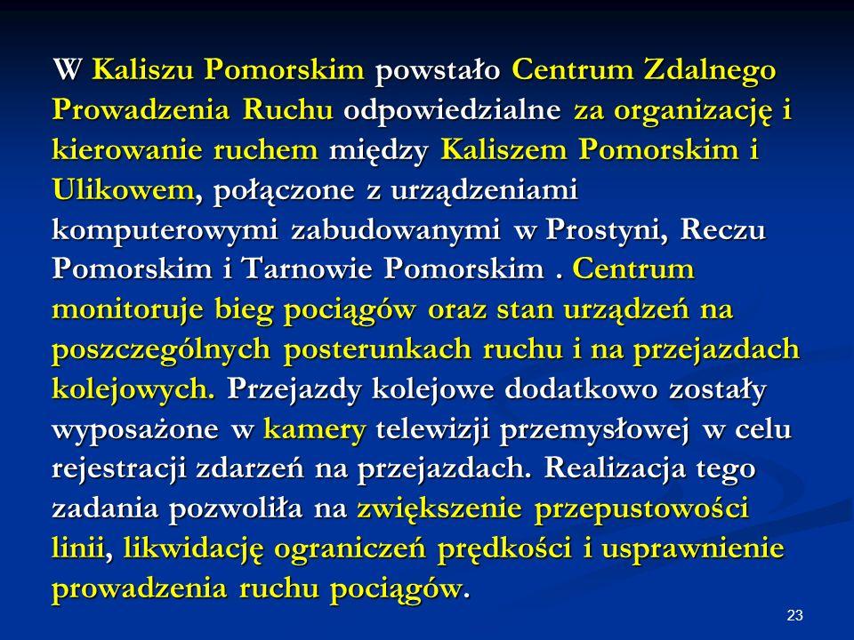 23 W Kaliszu Pomorskim powstało Centrum Zdalnego Prowadzenia Ruchu odpowiedzialne za organizację i kierowanie ruchem między Kaliszem Pomorskim i Uliko