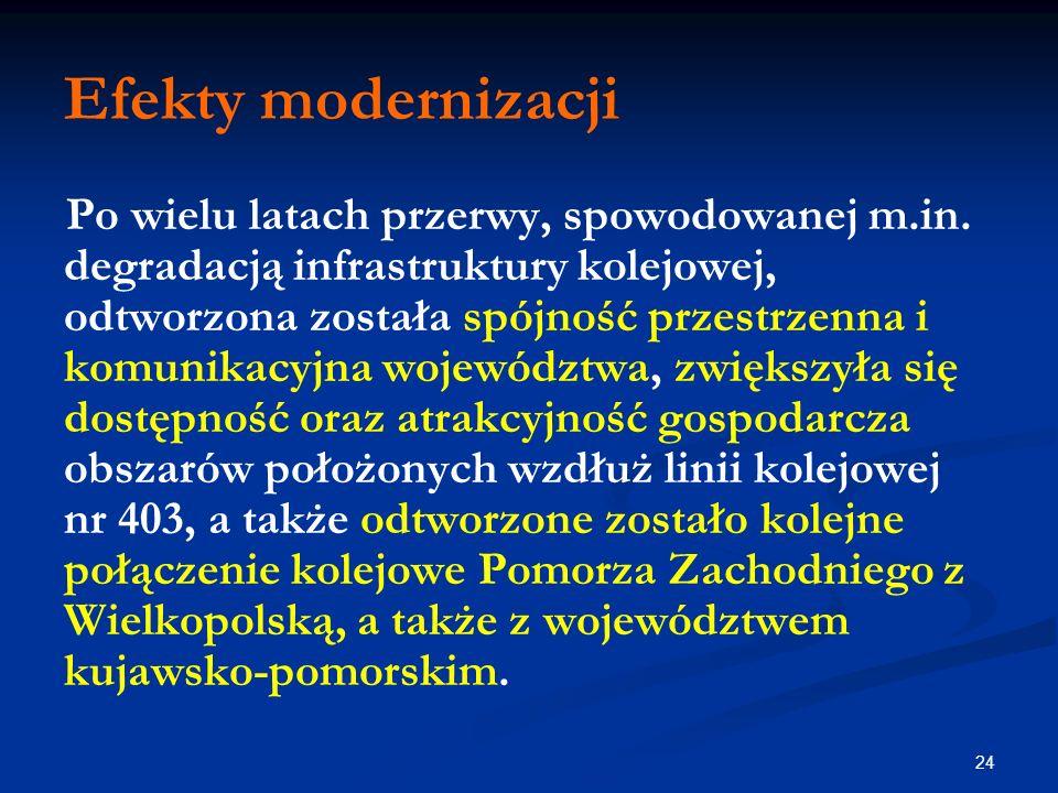 24 Efekty modernizacji Po wielu latach przerwy, spowodowanej m.in. degradacją infrastruktury kolejowej, odtworzona została spójność przestrzenna i kom