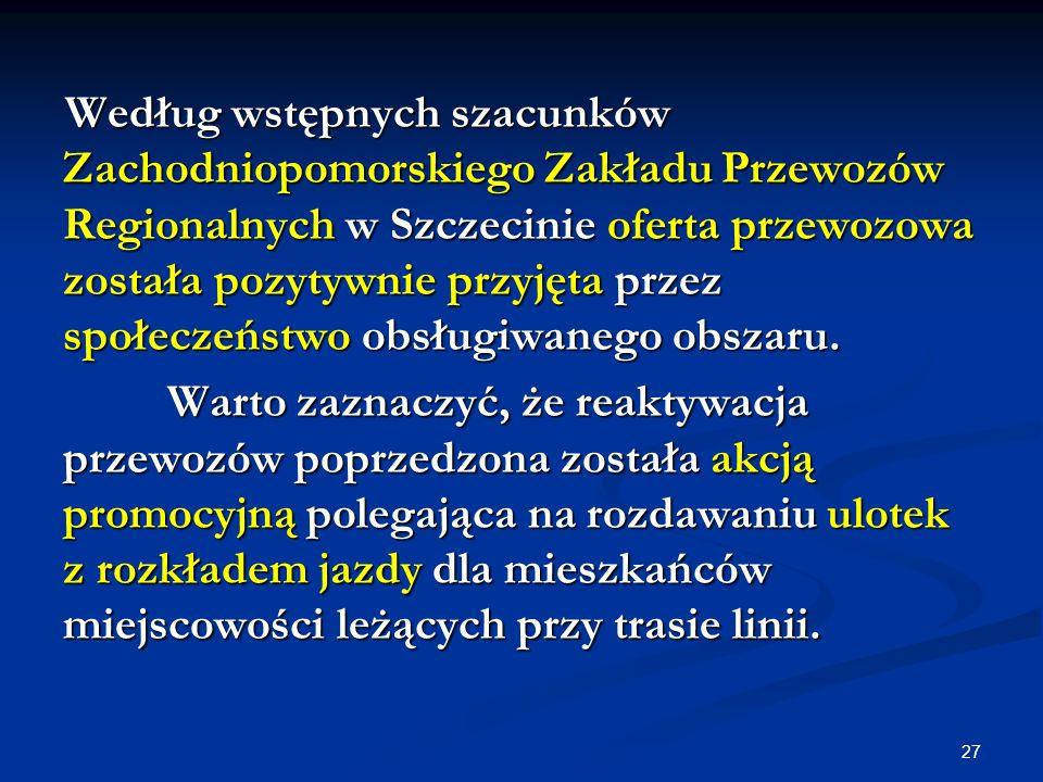 27 Według wstępnych szacunków Zachodniopomorskiego Zakładu Przewozów Regionalnych w Szczecinie oferta przewozowa została pozytywnie przyjęta przez spo