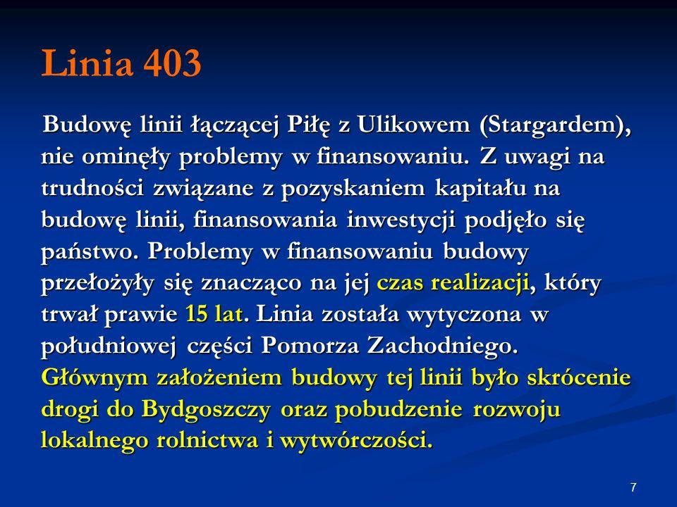 7 Linia 403 Budowę linii łączącej Piłę z Ulikowem (Stargardem), nie ominęły problemy w finansowaniu. Z uwagi na trudności związane z pozyskaniem kapit
