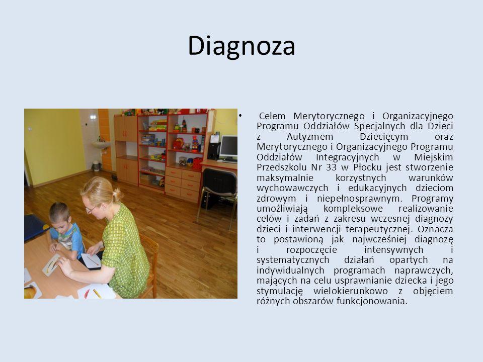 Diagnoza Celem Merytorycznego i Organizacyjnego Programu Oddziałów Specjalnych dla Dzieci z Autyzmem Dziecięcym oraz Merytorycznego i Organizacyjnego