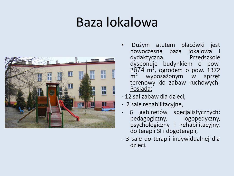 Baza lokalowa Dużym atutem placówki jest nowoczesna baza lokalowa i dydaktyczna. Przedszkole dysponuje budynkiem o pow. 2 674 m², ogrodem o pow. 1372