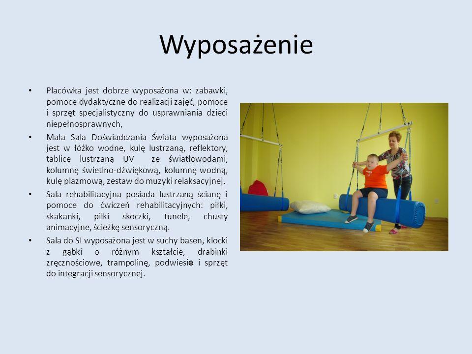 Wyposażenie Placówka jest dobrze wyposażona w: zabawki, pomoce dydaktyczne do realizacji zajęć, pomoce i sprzęt specjalistyczny do usprawniania dzieci