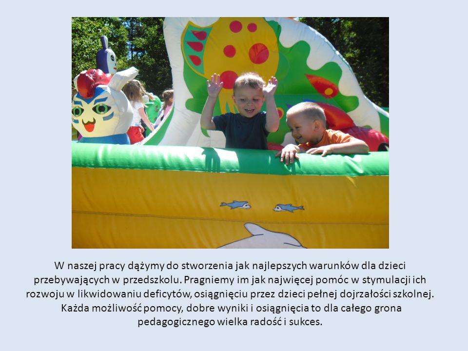 W naszej pracy dążymy do stworzenia jak najlepszych warunków dla dzieci przebywających w przedszkolu. Pragniemy im jak najwięcej pomóc w stymulacji ic