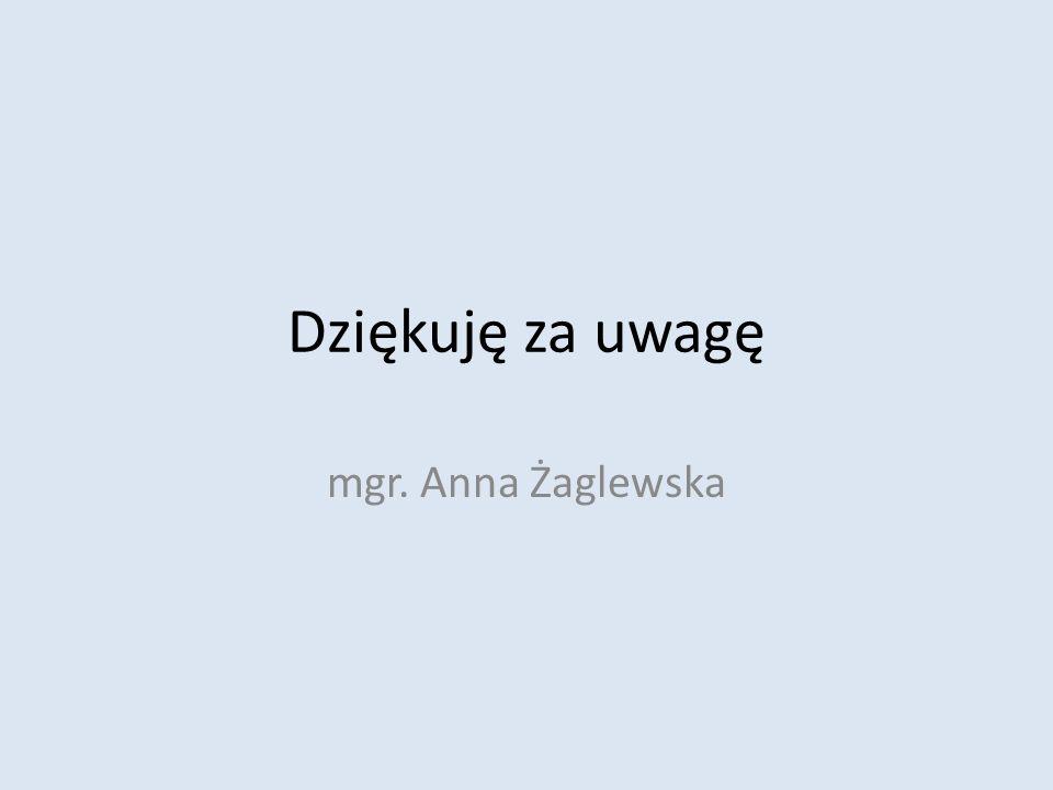 Dziękuję za uwagę mgr. Anna Żaglewska