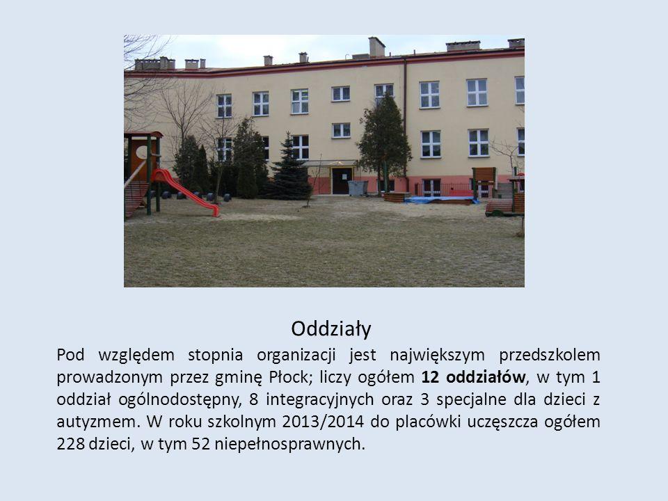 Oddziały Pod względem stopnia organizacji jest największym przedszkolem prowadzonym przez gminę Płock; liczy ogółem 12 oddziałów, w tym 1 oddział ogól