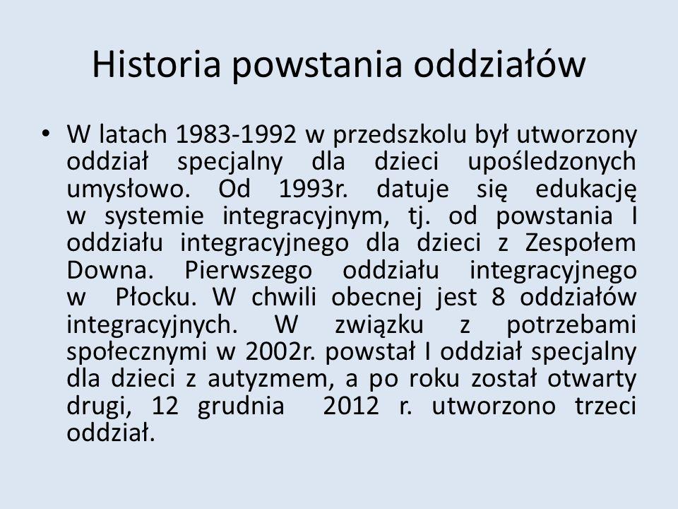 Historia powstania oddziałów W latach 1983-1992 w przedszkolu był utworzony oddział specjalny dla dzieci upośledzonych umysłowo. Od 1993r. datuje się