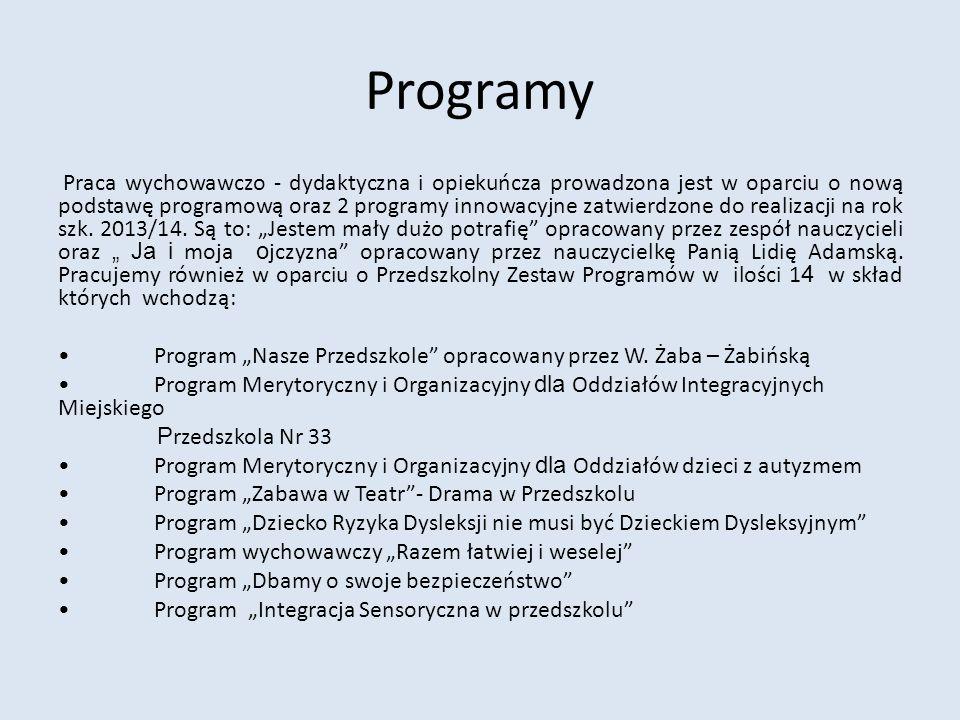 Programy Praca wychowawczo - dydaktyczna i opiekuńcza prowadzona jest w oparciu o nową podstawę programową oraz 2 programy innowacyjne zatwierdzone do