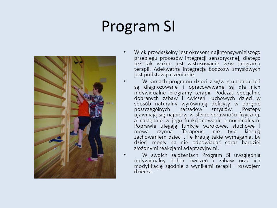 Program SI Wiek przedszkolny jest okresem najintensywniejszego przebiegu procesów integracji sensorycznej, dlatego też tak ważne jest zastosowanie w/w