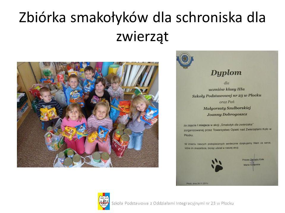 Zbiórka smakołyków dla schroniska dla zwierząt Szkoła Podstawowa z Oddziałami Integracyjnymi nr 23 w Płocku