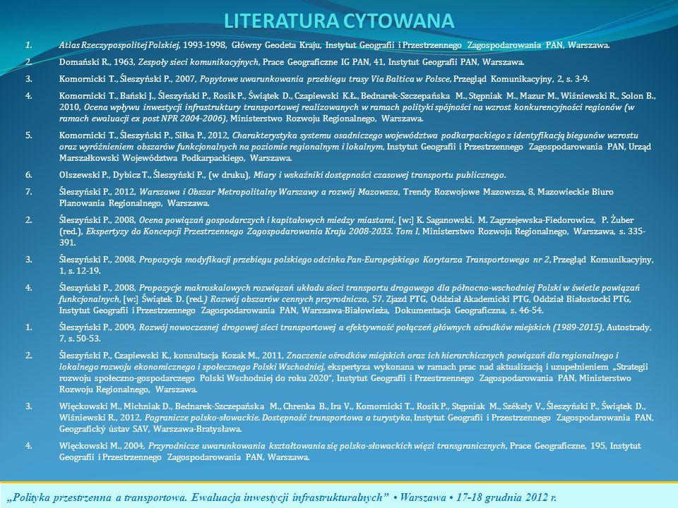 LITERATURA CYTOWANA Polityka przestrzenna a transportowa. Ewaluacja inwestycji infrastrukturalnych Warszawa 17-18 grudnia 2012 r. 1.Atlas Rzeczypospol