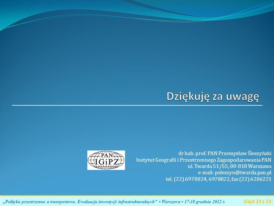 dr hab. prof. PAN Przemysław Śleszyński Instytut Geografii i Przestrzennego Zagospodarowania PAN ul. Twarda 51/55, 00-818 Warszawa e-mail: psleszyn@tw