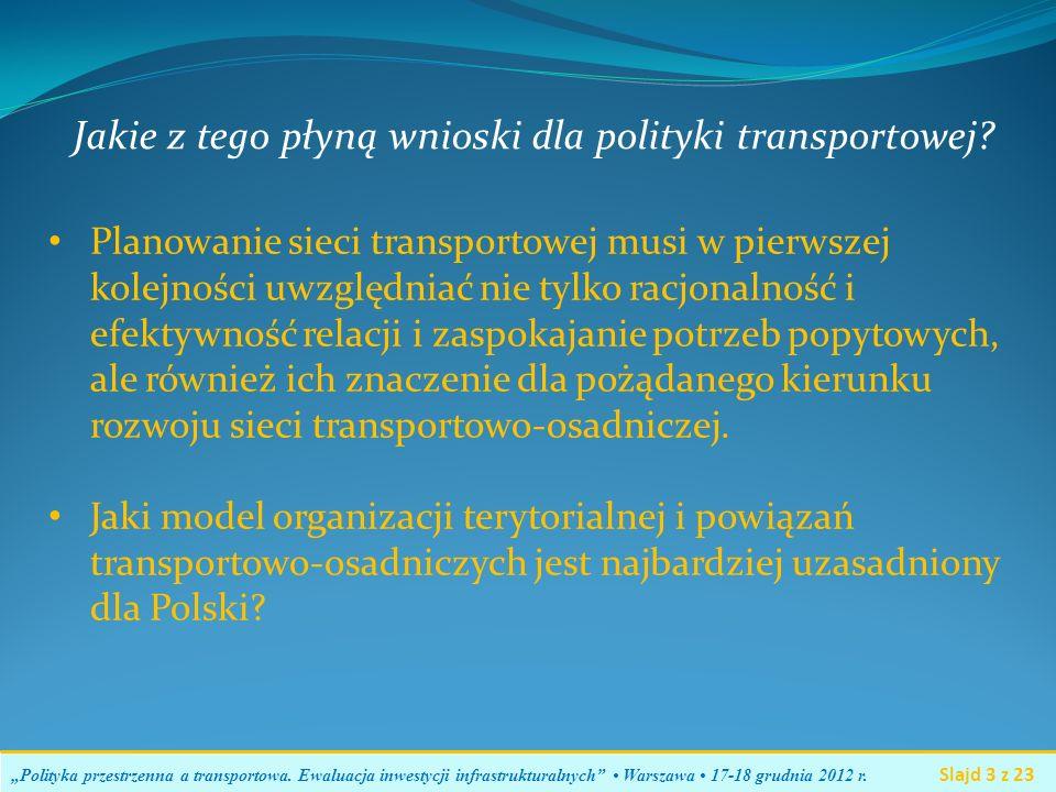WYNIKI Polityka przestrzenna a transportowa.