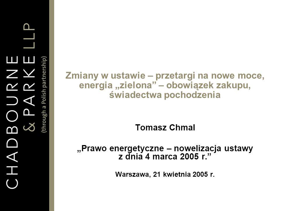 2 Zagadnienia 1.Nowe regulacje dotyczące energii zielonej 2.