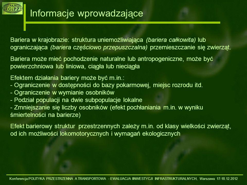 Informacje wprowadzające Konferencja POLITYKA PRZESTRZENNA A TRANSPORTOWA - EWALUACJA IINWESTYCJI INFRASTRUKTURALNYCH, Warszawa 17-18.12.2012 Drogi asfaltowe, a szczególnie nowoczesne drogi wielopasmowe od dawna są uważane za poważne bariery ekologiczne w skali krajobrazu i w skali międzyregionalnych korytarzy migracyjnych.