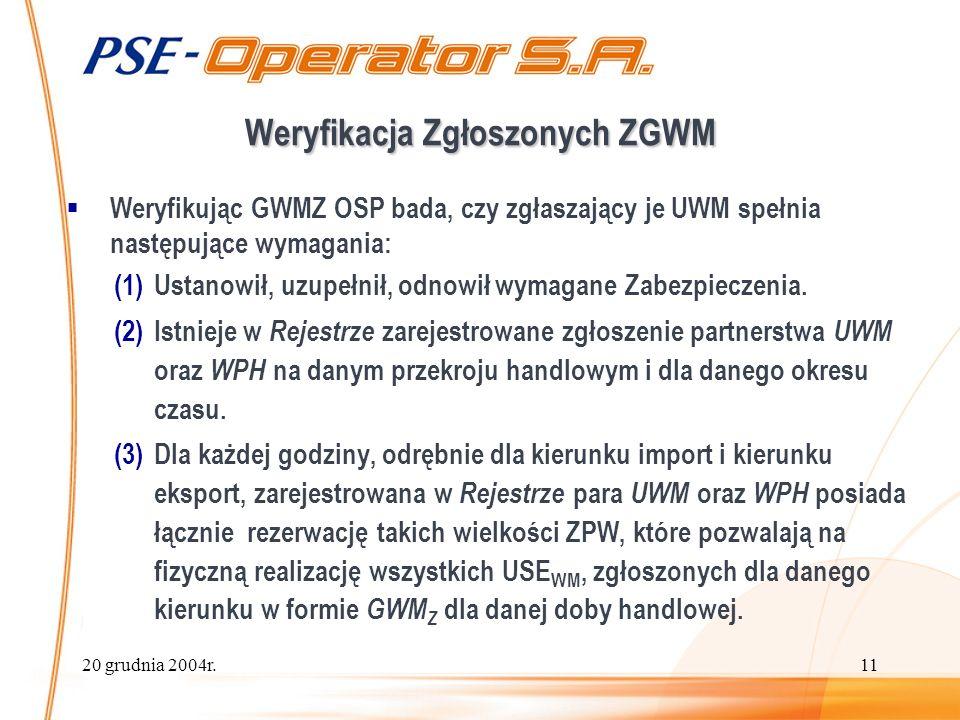 20 grudnia 2004r.11 Weryfikacja Zgłoszonych ZGWM Weryfikując GWMZ OSP bada, czy zgłaszający je UWM spełnia następujące wymagania: (1)Ustanowił, uzupełnił, odnowił wymagane Zabezpieczenia.