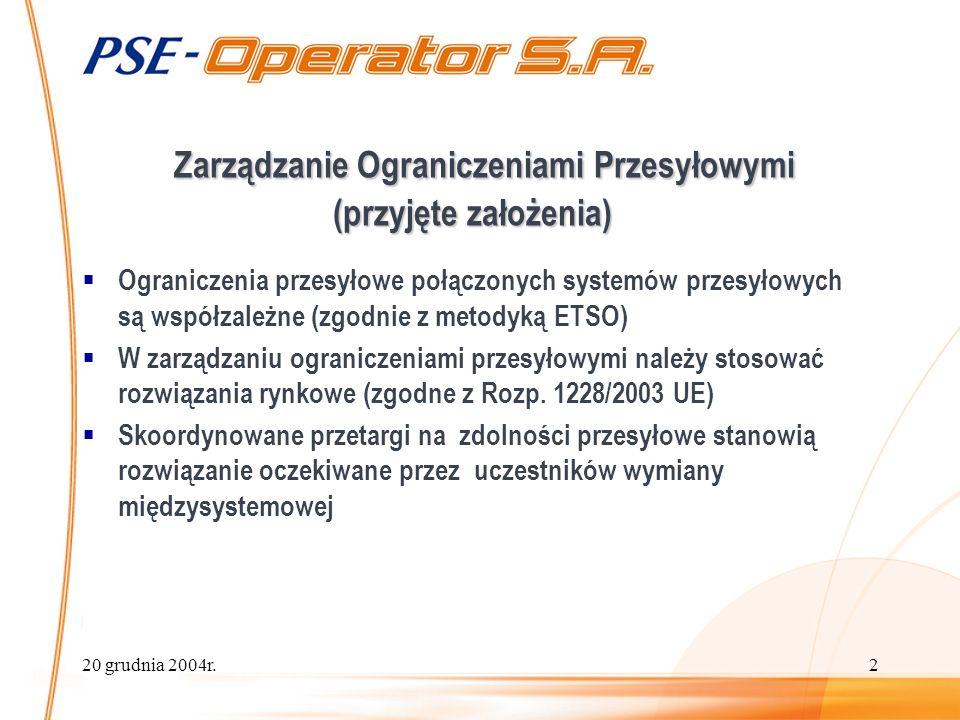 20 grudnia 2004r.2 Zarządzanie Ograniczeniami Przesyłowymi (przyjęte założenia) Ograniczenia przesyłowe połączonych systemów przesyłowych są współzależne (zgodnie z metodyką ETSO) W zarządzaniu ograniczeniami przesyłowymi należy stosować rozwiązania rynkowe (zgodne z Rozp.
