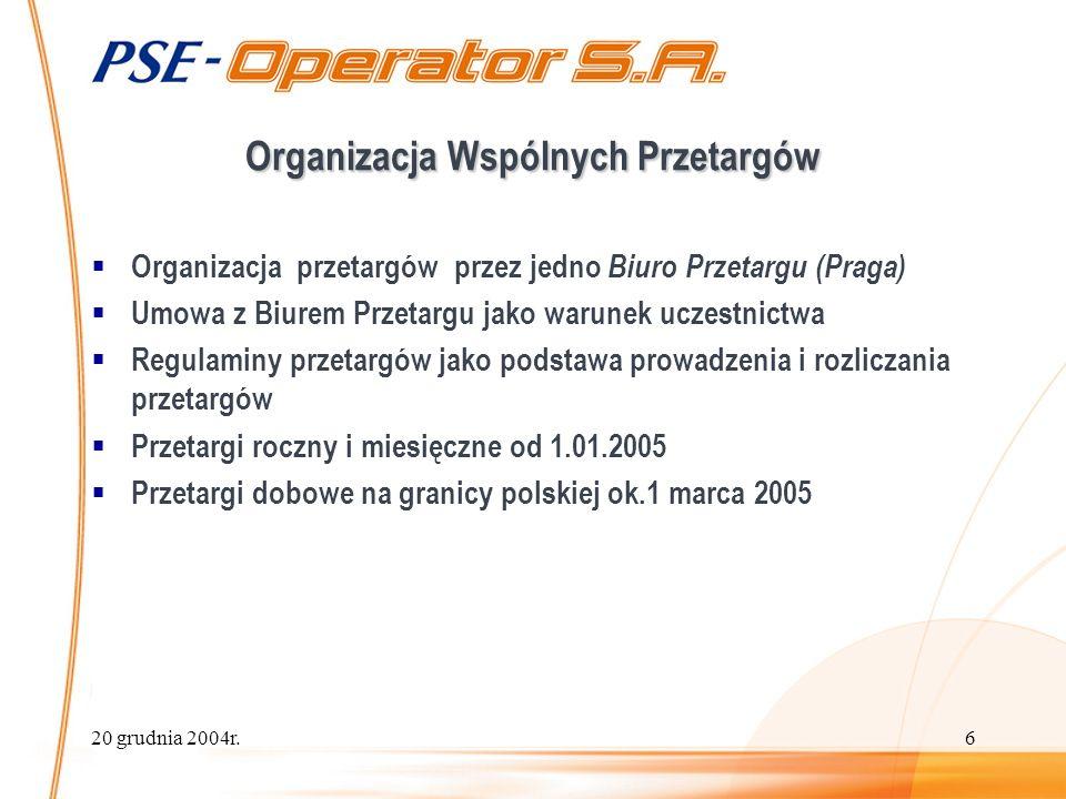20 grudnia 2004r.6 Organizacja Wspólnych Przetargów Organizacja przetargów przez jedno Biuro Przetargu (Praga) Umowa z Biurem Przetargu jako warunek uczestnictwa Regulaminy przetargów jako podstawa prowadzenia i rozliczania przetargów Przetargi roczny i miesięczne od 1.01.2005 Przetargi dobowe na granicy polskiej ok.1 marca 2005