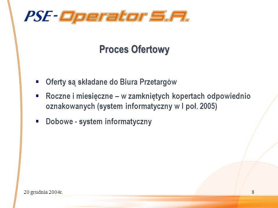 20 grudnia 2004r.8 Proces Ofertowy Oferty są składane do Biura Przetargów Roczne i miesięczne – w zamkniętych kopertach odpowiednio oznakowanych (system informatyczny w I poł.