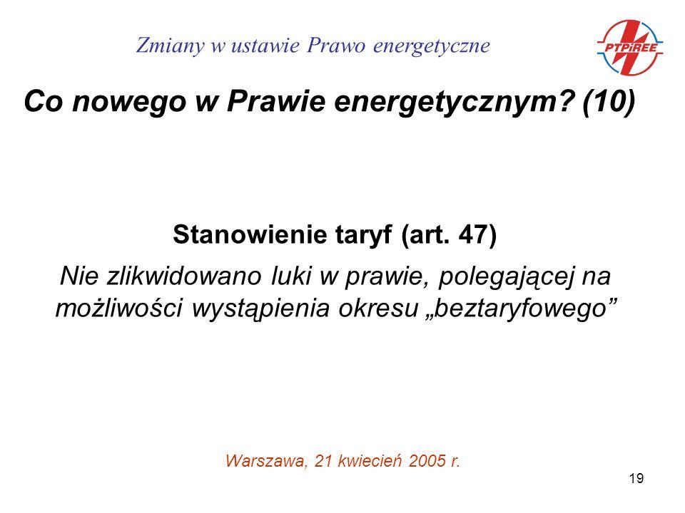 19 Stanowienie taryf (art.