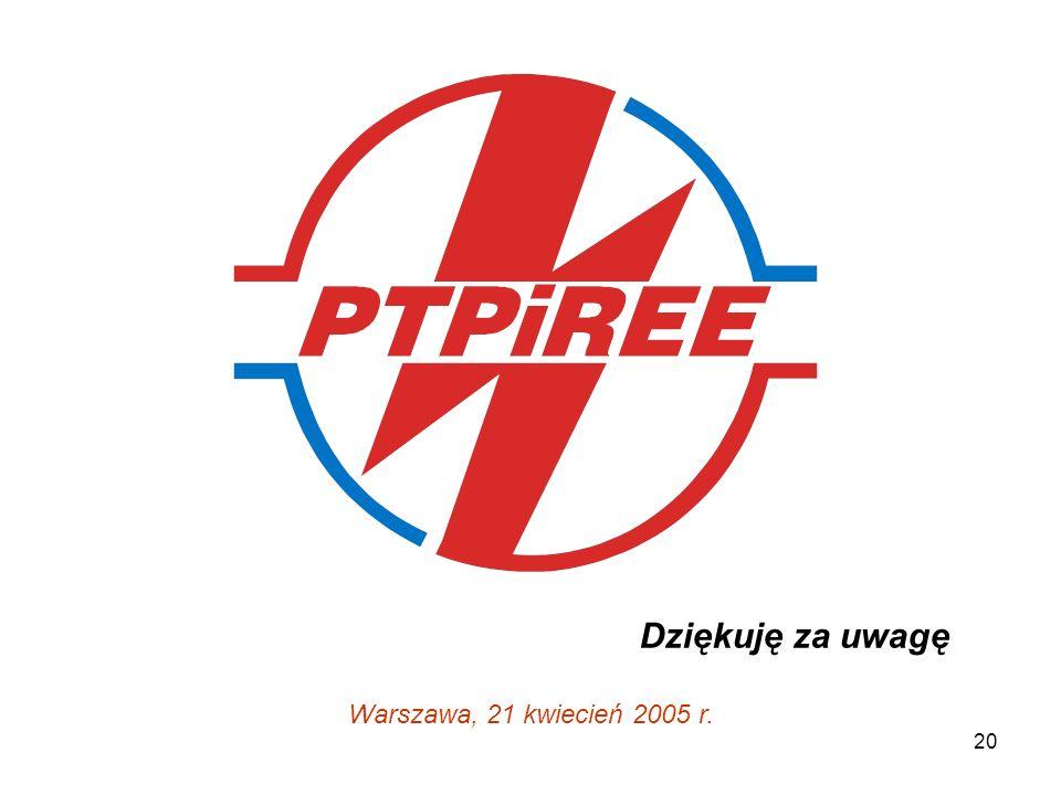 20 Dziękuję za uwagę Warszawa, 21 kwiecień 2005 r.