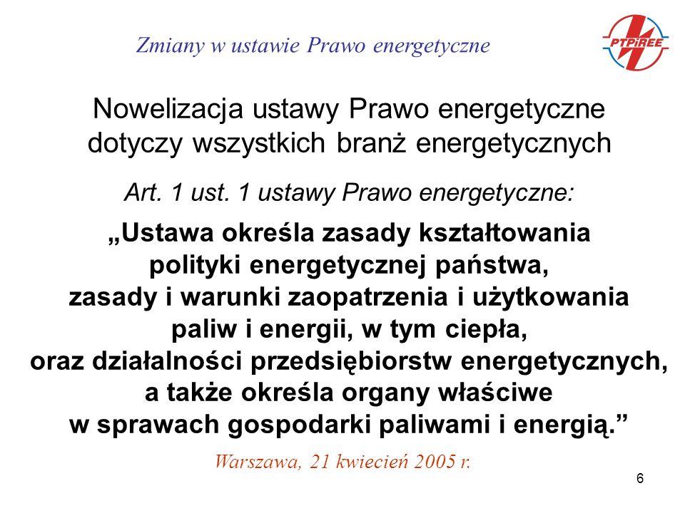 17 Obrót energią elektryczną przetworzoną z energii odnawialnej c.d.: - rola Towarowej Giełdy Energii - jednostkowa opłata zastępcza 240,- zł/MWh - opłata zastępcza stanowi dochód NFOŚiGW - data wejścia w życie: 1.10.2005 r.