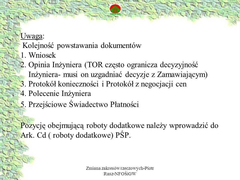 Zmiana zakresów rzeczowych-Piotr Rasz-NFOŚiGW Uwaga: Kolejność powstawania dokumentów 1. Wniosek 2. Opinia Inżyniera (TOR często ogranicza decyzyjność