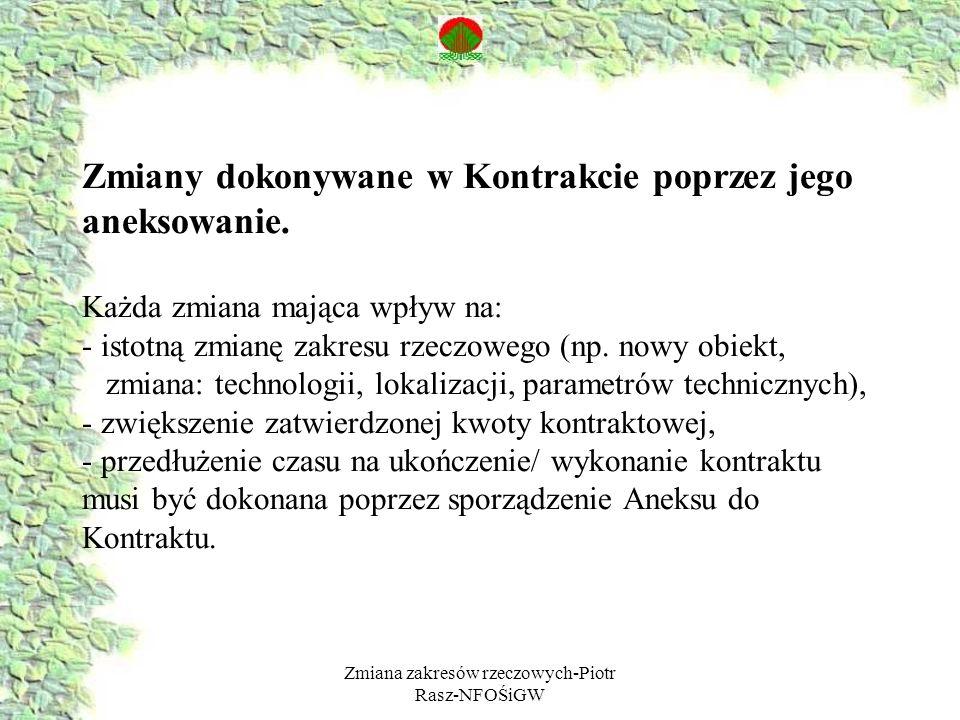 Zmiana zakresów rzeczowych-Piotr Rasz-NFOŚiGW Zmiany dokonywane w Kontrakcie poprzez jego aneksowanie.