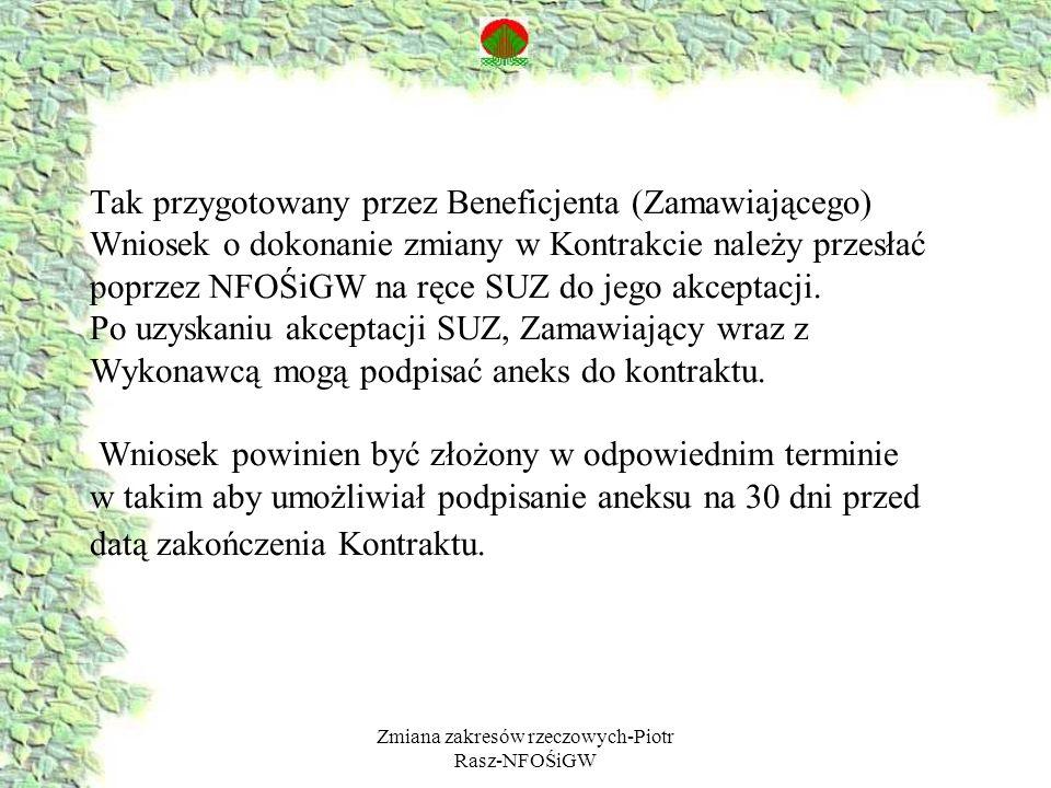 Zmiana zakresów rzeczowych-Piotr Rasz-NFOŚiGW Tak przygotowany przez Beneficjenta (Zamawiającego) Wniosek o dokonanie zmiany w Kontrakcie należy przes