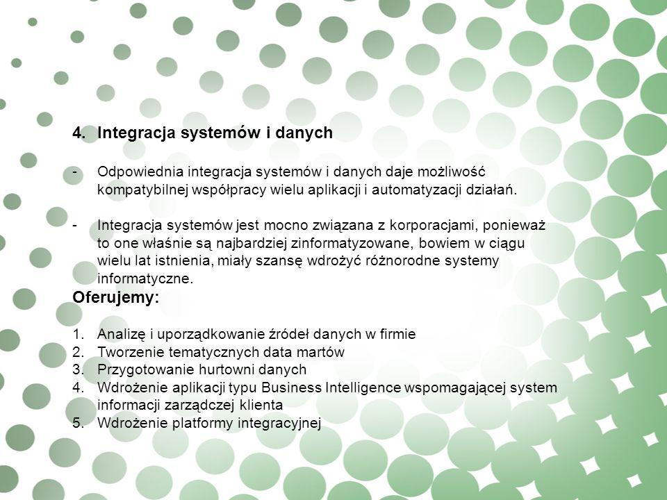 4.Integracja systemów i danych -Odpowiednia integracja systemów i danych daje możliwość kompatybilnej współpracy wielu aplikacji i automatyzacji dział