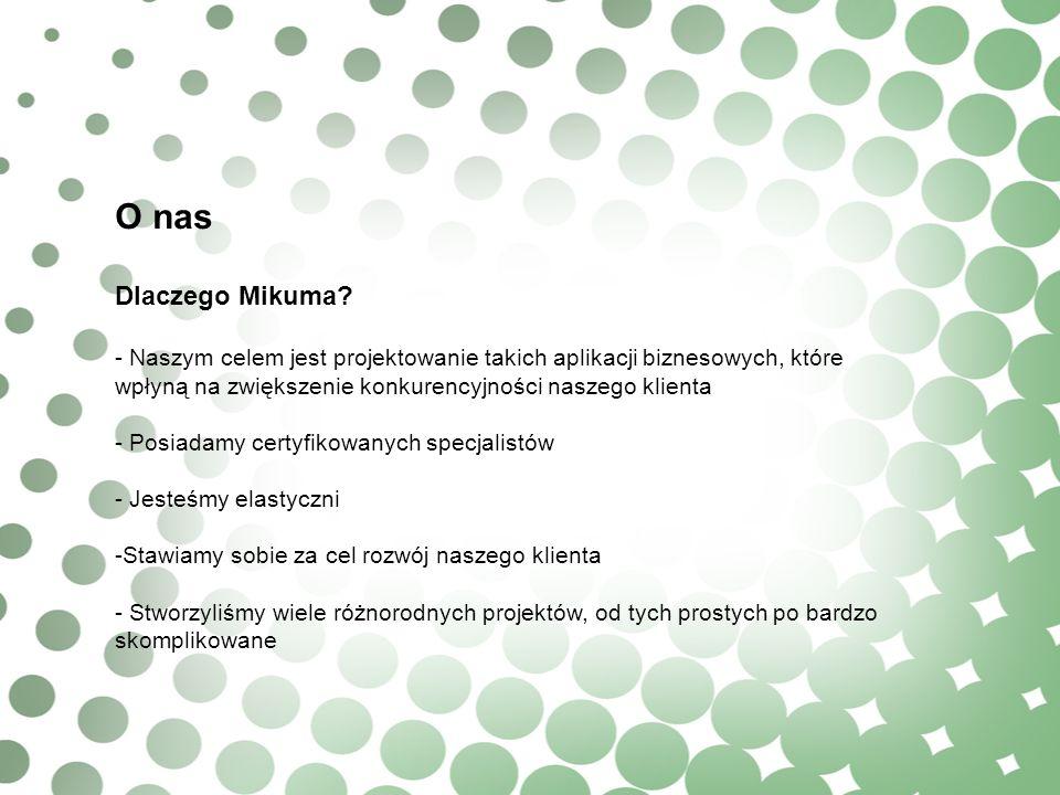 O nas Dlaczego Mikuma? - Naszym celem jest projektowanie takich aplikacji biznesowych, które wpłyną na zwiększenie konkurencyjności naszego klienta -